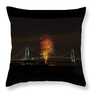 Fireworks Over The Verrazano Narrows Bridge Throw Pillow by Kenneth Cole