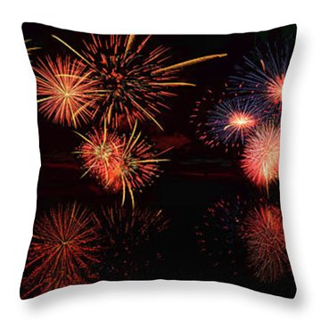 Fireworks Reflection In Water Panorama Throw Pillow