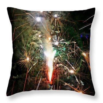 Throw Pillow featuring the photograph Fireworks by Vivian Krug Cotton