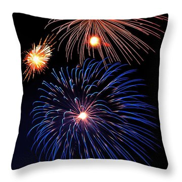 Fireworks Wixom 1 Throw Pillow by Michael Peychich