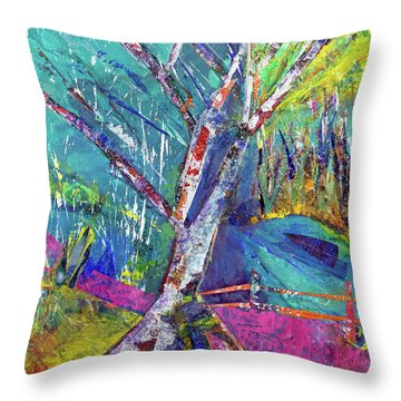 Firey Birch Throw Pillow
