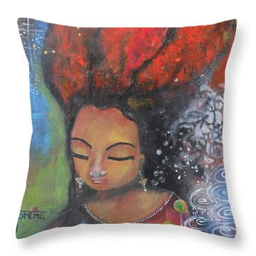 Throw Pillow featuring the painting Firey Hair Girl by Prerna Poojara
