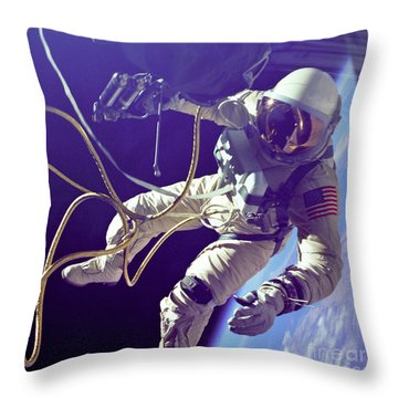 First American Walking In Space, Edward Throw Pillow