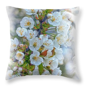 First Apple Blossoms Throw Pillow by Constantine Gregory