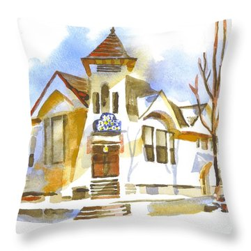 Throw Pillow featuring the painting First Baptist Church In Winter by Kip DeVore