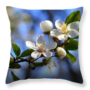 First Blossoms Throw Pillow