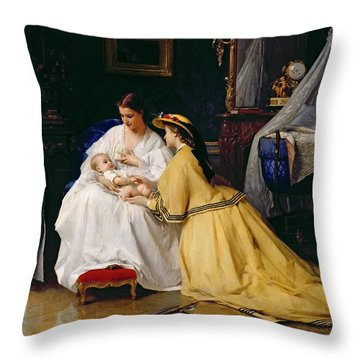 First Born Throw Pillow by Gustave Leonard de Jonghe