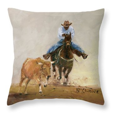 First Bulldogger Bill Picket Oil Painting By Kmcelwaine  Throw Pillow