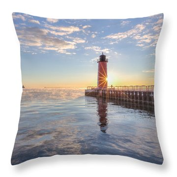 First Cold Sunrise Throw Pillow