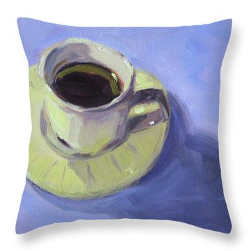 Throw Pillow featuring the painting First Cup by Nancy Merkle