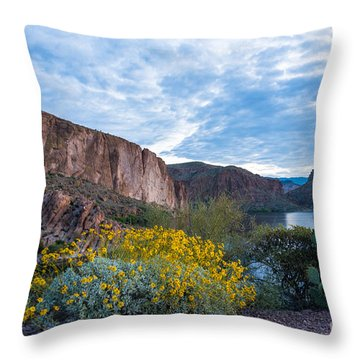 First Day Of Spring - Canyon Lake Throw Pillow by Leo Bounds