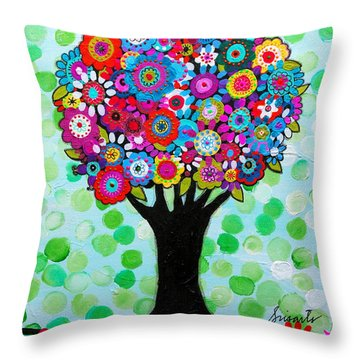 Throw Pillow featuring the painting First Day Of Spring by Pristine Cartera Turkus