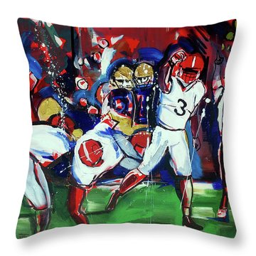 Throw Pillow featuring the painting First Down by John Jr Gholson