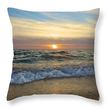 First Encounter Beach Throw Pillow