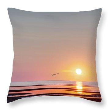 First Encounter Beach Cape Cod Square Throw Pillow