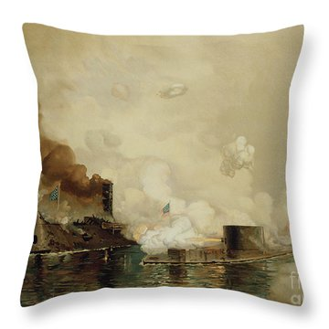 First Fight Between Ironclads Throw Pillow