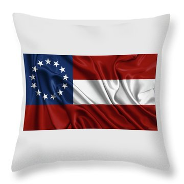 First Flag Of The Confederate States Of America - Stars And Bars 1861-1863 Throw Pillow