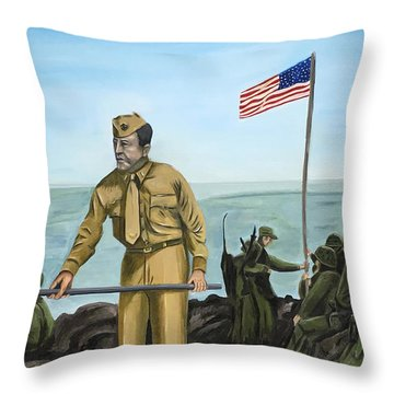 First Flag Raising Iwo Jima Throw Pillow