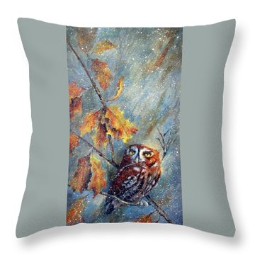Throw Pillow featuring the painting First Flurries by Mary McCullah