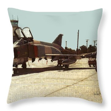 First Jet Throw Pillow by Walter Chamberlain