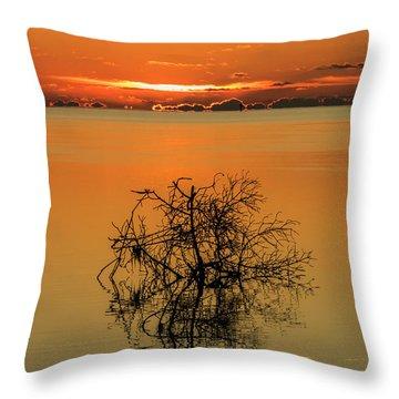 Throw Pillow featuring the photograph First Key West Sunrise 2018 B by Bob Slitzan