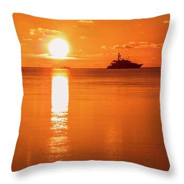 Throw Pillow featuring the photograph First Key West Sunrise 2018 C by Bob Slitzan