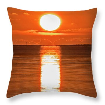 Throw Pillow featuring the photograph First Key West Sunrise 2018 F by Bob Slitzan