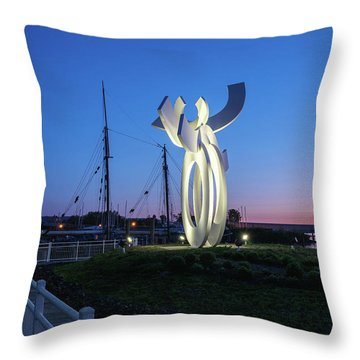 First Light At The Waterfront Throw Pillow