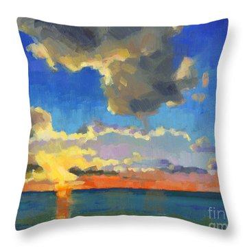 Throw Pillow featuring the painting First Light by Nancy  Parsons