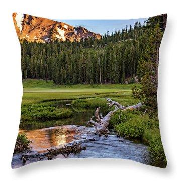 First Light On Lassen From Upper Meadow Throw Pillow