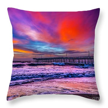 Throw Pillow featuring the photograph First Light On The Beach by Nick Zelinsky