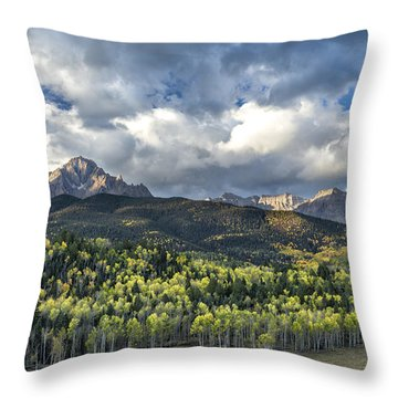 First Light On The Sneffels Range Throw Pillow