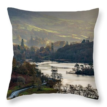 First Light Over Rydal Water In The Lake District Throw Pillow