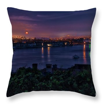 First Moonset Of 2018 Throw Pillow