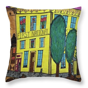 First National Hotel. Historic Menominee Art. Throw Pillow