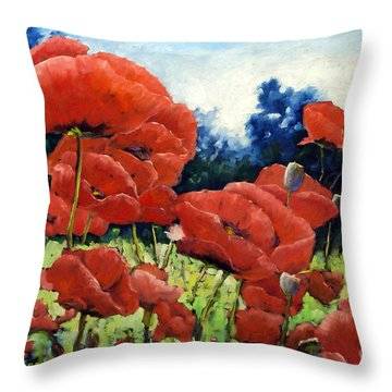 First Of Poppies Throw Pillow by Richard T Pranke