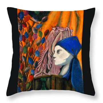 Throw Pillow featuring the pastel First Oil Pastel by Jean Haynes