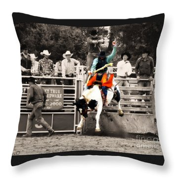 First Out Of The Chute Throw Pillow