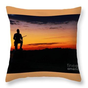 First Pennsylvania Cavalry Sunrise Gettysburg Throw Pillow