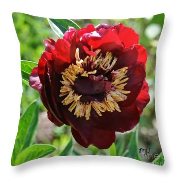 First Peony Bloom Throw Pillow by Marsha Heiken