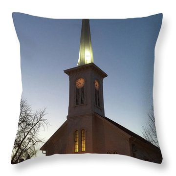 First Presbyterian Churc Babylon N.y After Sunset Throw Pillow