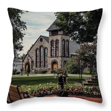 Throw Pillow featuring the photograph First Presbyterian Church by Kendall McKernon