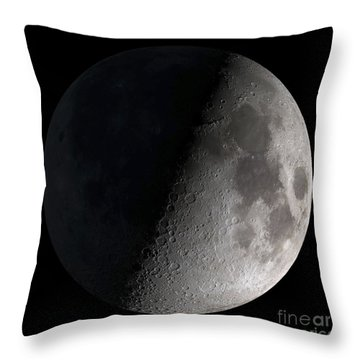 Throw Pillow featuring the photograph First Quarter Moon by Stocktrek Images