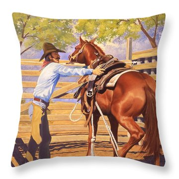 First Saddling Throw Pillow