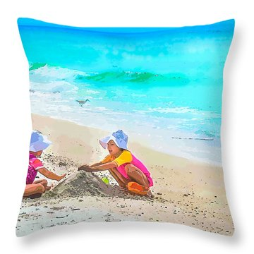 First Sand Castle Throw Pillow