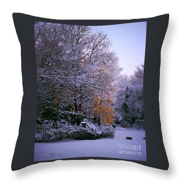 First Snow After Autumn Throw Pillow