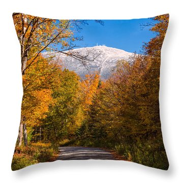 First Snow And Fall Foliage Mount Washington Throw Pillow