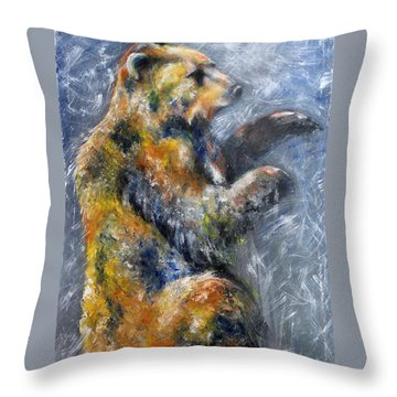 First Snow Contemporary Colorful Bear Painting Throw Pillow
