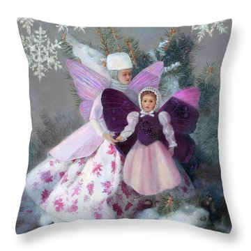 Throw Pillow featuring the painting First Snow by Nancy Lee Moran