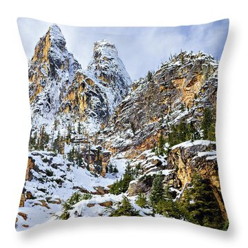 Throw Pillow featuring the photograph First Snow On Liberty Bell Horizontal by Mary Jo Allen